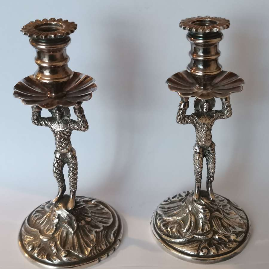 Pair of George 11 Style Harlequin Candlesticks.