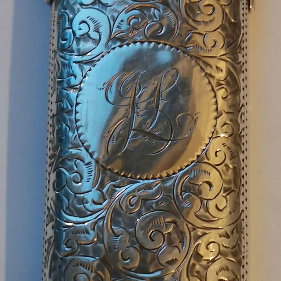 Antique Silver Spectacle Case with Scroll Pattern.