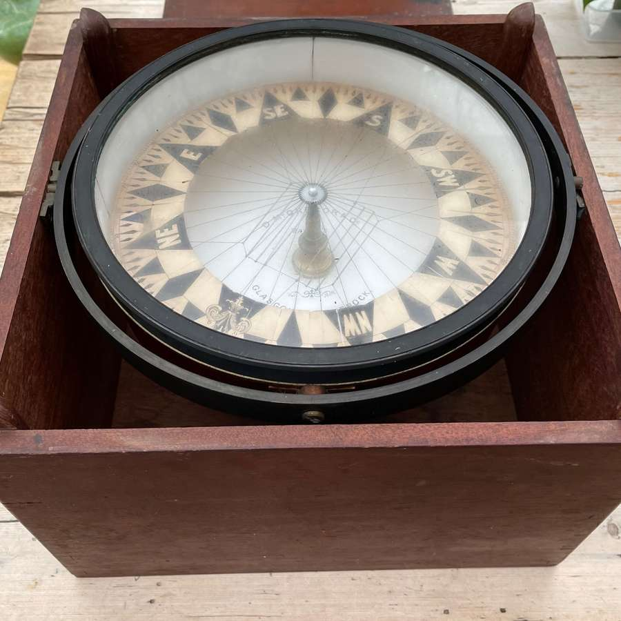 Large Boxed Antique D McGregor&Co Greenock Paper Card Compass.