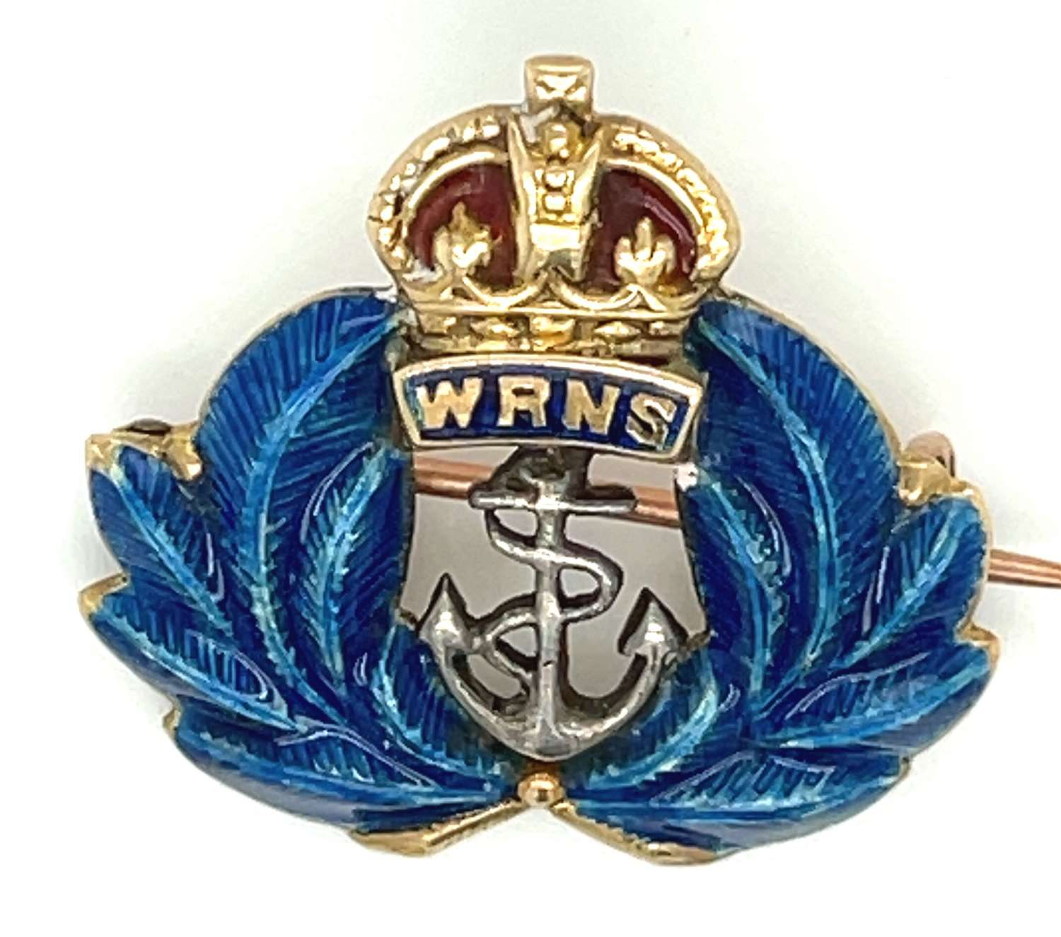 Antique 15ct Gold and Enamel WRNS Badge - Page Plymouth.