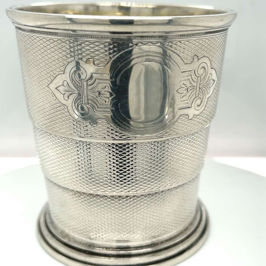 Antique Russian 84 Silver Collapsible Cup - makers mark NT.