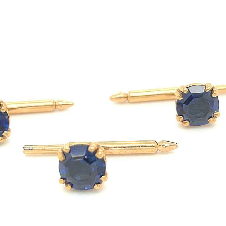Vintage Trio of SULKA France 18K Gold and Sapphire Shirt Studs.