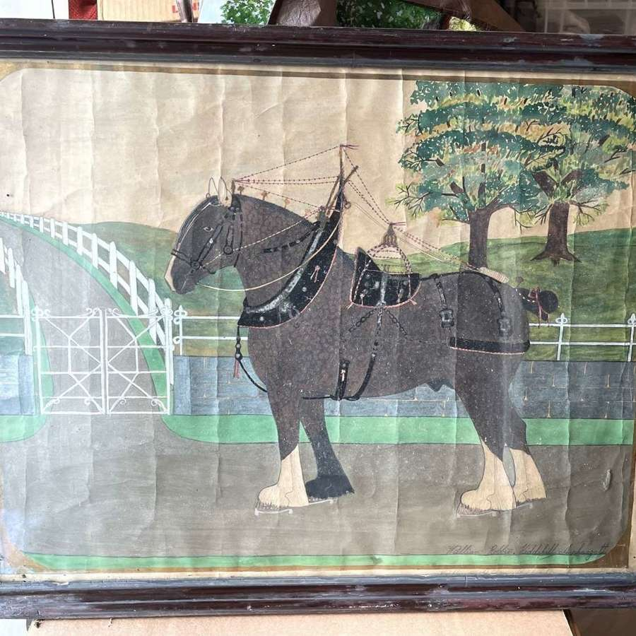 Scottish Folk Art Naive Horse Painting (Watercolour) by William Robbie