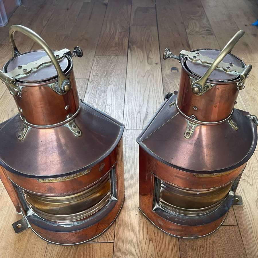 Pair of Alderson&Gyde dated 1943 Copper Port and Starboard Ships Lamps